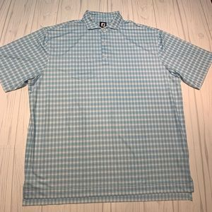 Men's Footjoy Blue White Check Golf Polo